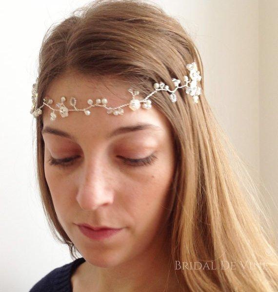 Bridal Hair Accessories Boho : Boho bridal hair vine u2013 forehead halo headband made with pearls