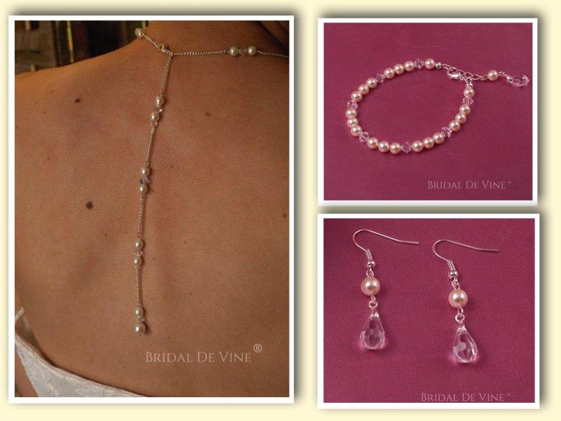f87e70c98a Isobel Crystal & Pearl Backdrop Necklace Jewellery Set – Bridal De Vine