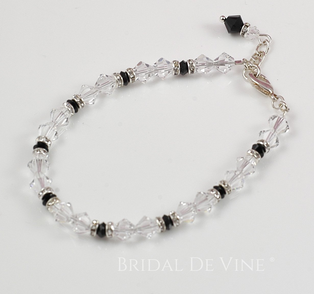 8a88e34ef4 Crystal Clear & Black with Diamante Bridesmaids Dainty Bracelet 'Allegra'