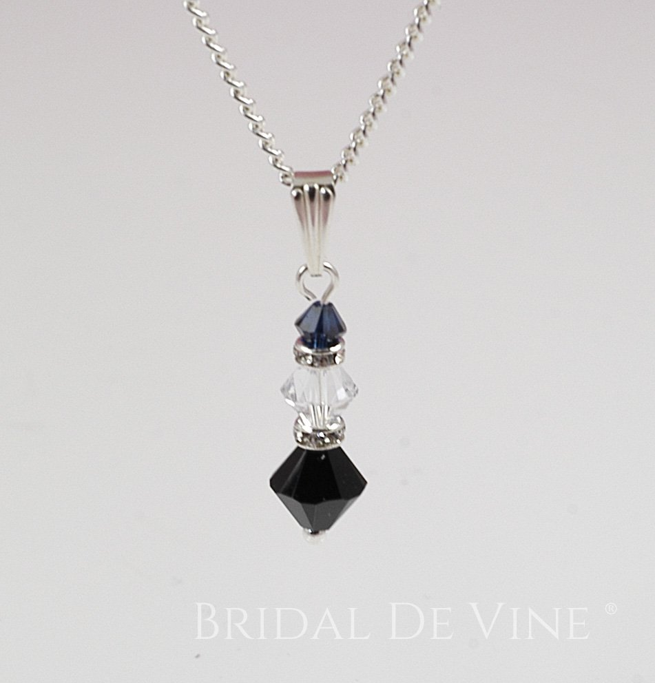 370d763ac Crystal Clear & Black with Diamante Bridesmaids Dainty Necklace 'Allegra'