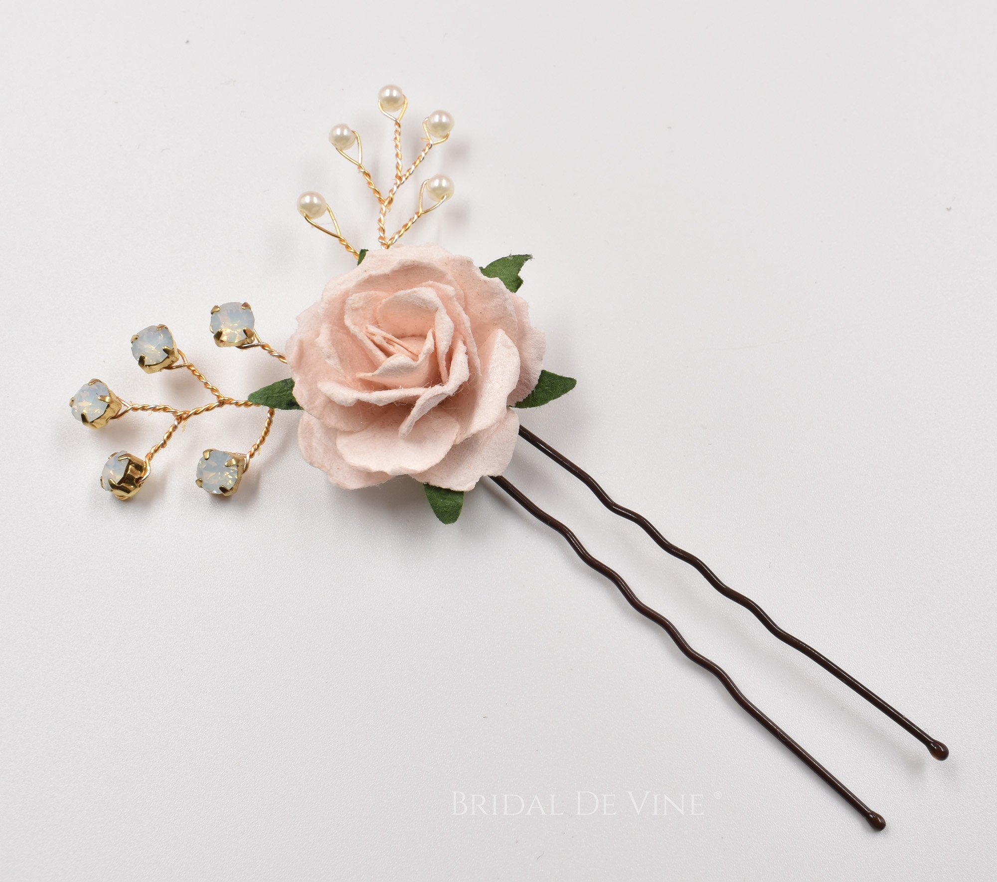 Ivory Blush Bridal Flower Hair Pin Hair Accessories Vintage Bride Bridal De Vine